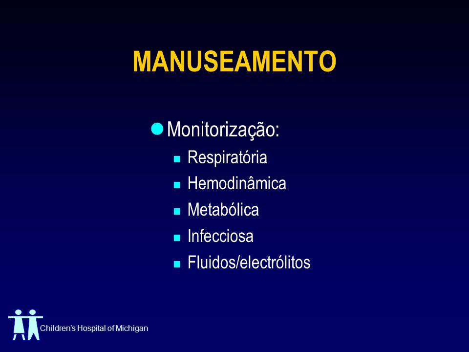 Childrens Hospital of Michigan MANUSEAMENTO Monitorização: Respiratória Hemodinâmica Metabólica Infecciosa Fluidos/electrólitos