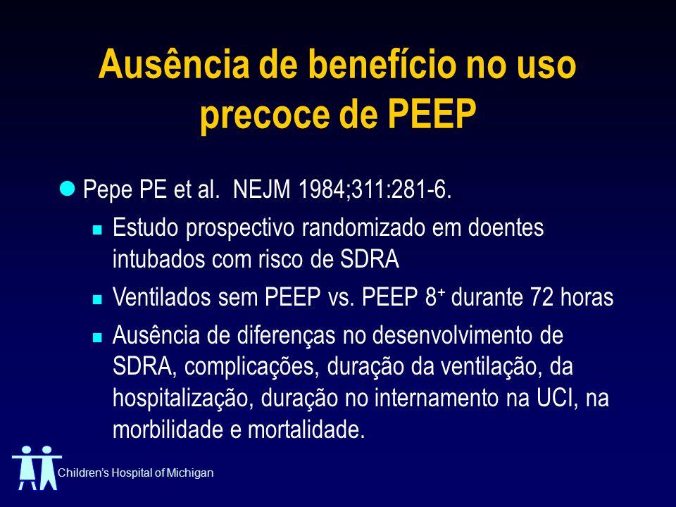 Childrens Hospital of Michigan Ausência de benefício no uso precoce de PEEP Pepe PE et al. NEJM 1984;311:281-6. Estudo prospectivo randomizado em doen