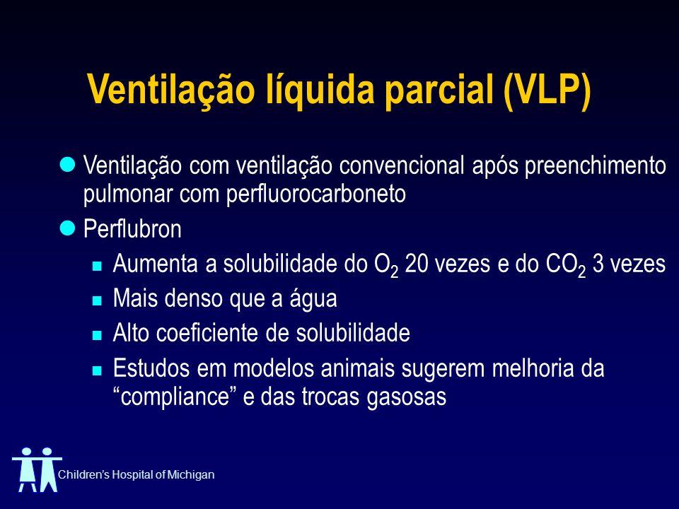 Childrens Hospital of Michigan Ventilação líquida parcial (VLP) Ventilação com ventilação convencional após preenchimento pulmonar com perfluorocarbon