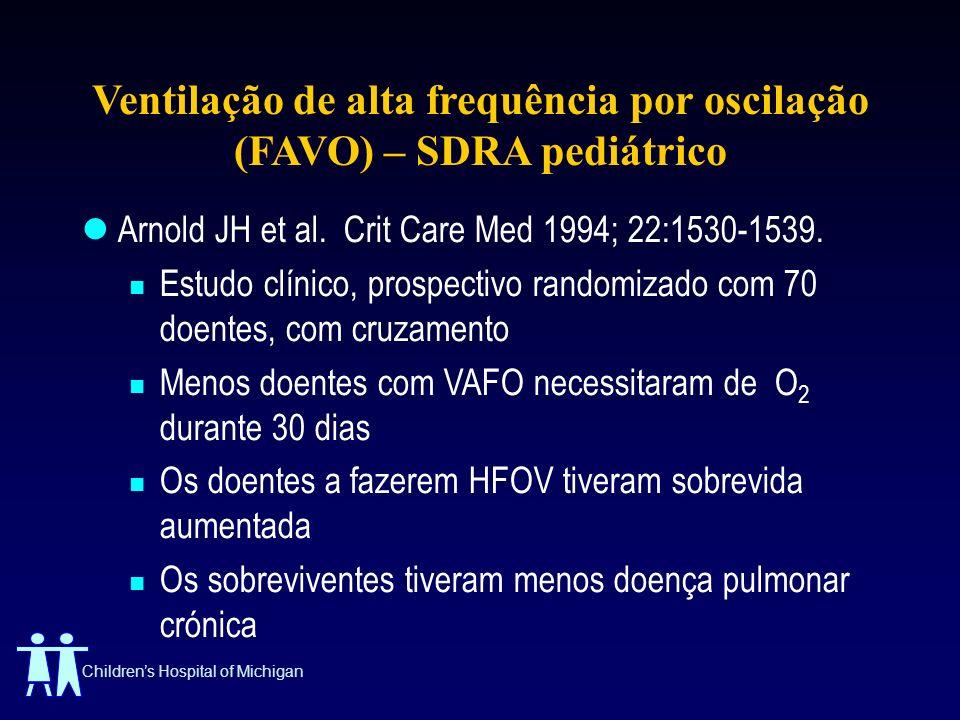 Childrens Hospital of Michigan Ventilação de alta frequência por oscilação (FAVO) – SDRA pediátrico Arnold JH et al. Crit Care Med 1994; 22:1530-1539.