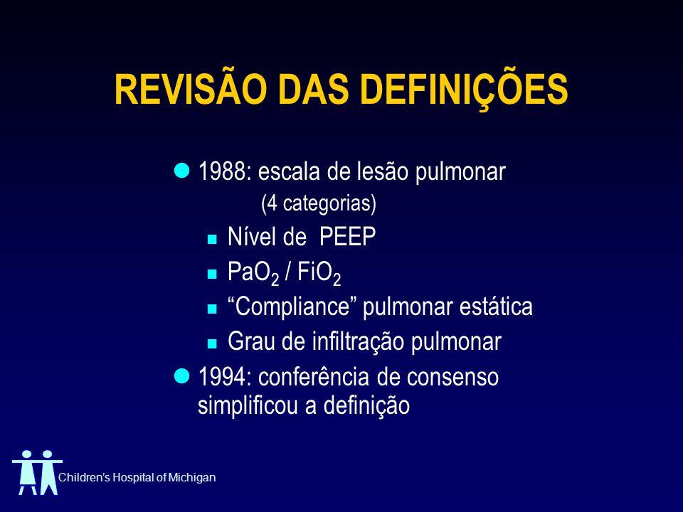 Childrens Hospital of Michigan REVISÃO DAS DEFINIÇÕES 1988: escala de lesão pulmonar (4 categorias) Nível de PEEP PaO 2 / FiO 2 Compliance pulmonar es