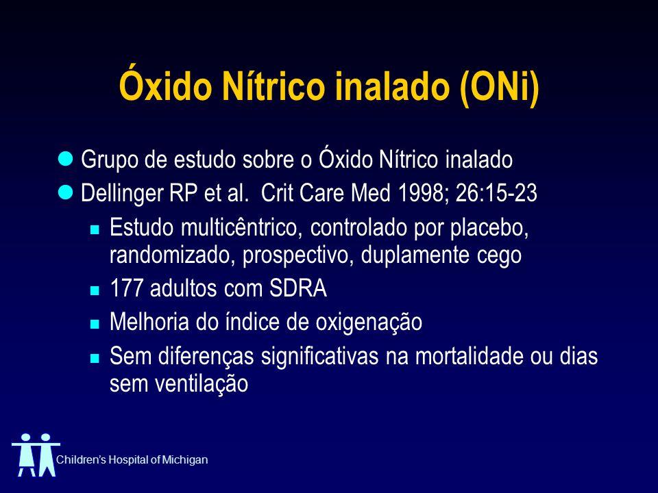 Childrens Hospital of Michigan Óxido Nítrico inalado (ONi) Grupo de estudo sobre o Óxido Nítrico inalado Dellinger RP et al. Crit Care Med 1998; 26:15