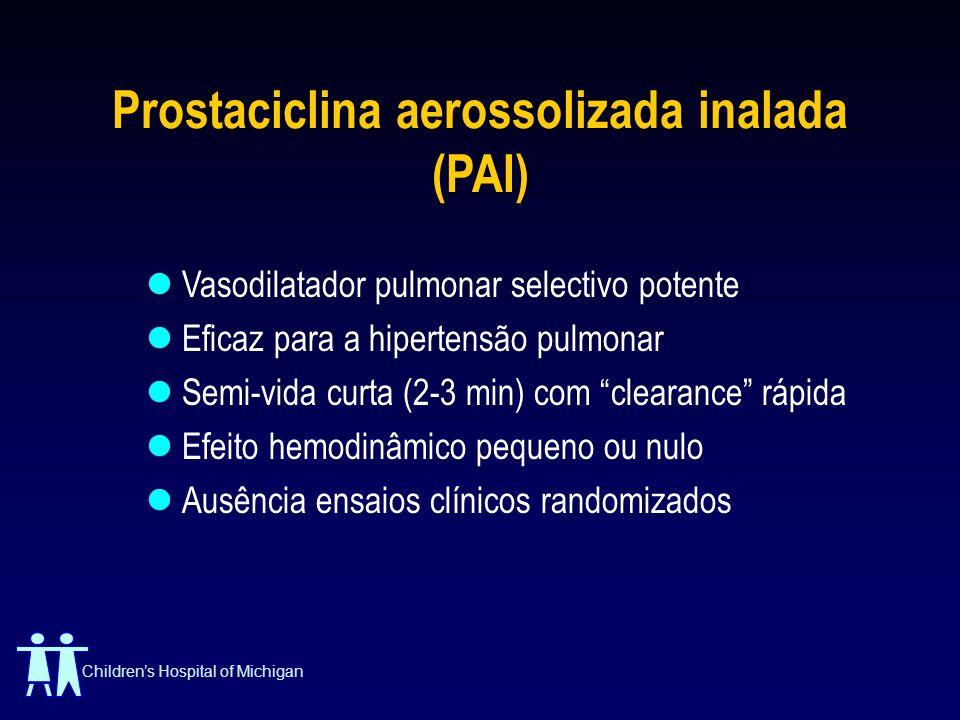 Childrens Hospital of Michigan Prostaciclina aerossolizada inalada (PAI) Vasodilatador pulmonar selectivo potente Eficaz para a hipertensão pulmonar S