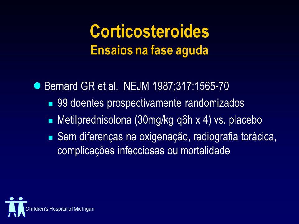 Childrens Hospital of Michigan Corticosteroides Ensaios na fase aguda Bernard GR et al. NEJM 1987;317:1565-70 99 doentes prospectivamente randomizados