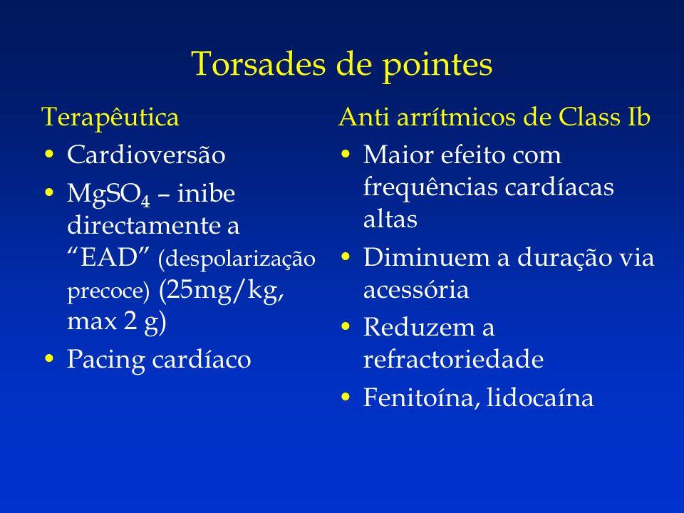 Torsades de pointes Terapêutica Cardioversão MgSO 4 – inibe directamente a EAD (despolarização precoce) (25mg/kg, max 2 g) Pacing cardíaco Anti arrítm