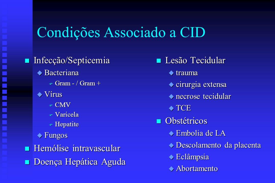Condições Associadas a CID n Malignidade u Leucemia u Doença Metastática n Cardiovascular u Após paragem cardíaca u Enfarte agudo miocárdio u Próteses