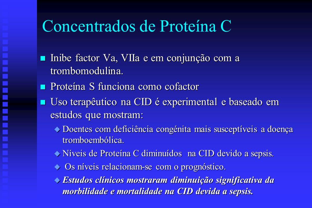 n O principal inibidor da cascata da coagulação u Níveis diminuídos na CID u Anticoagulante e com propriedades anti-inflamatórias n O objectivo terapê