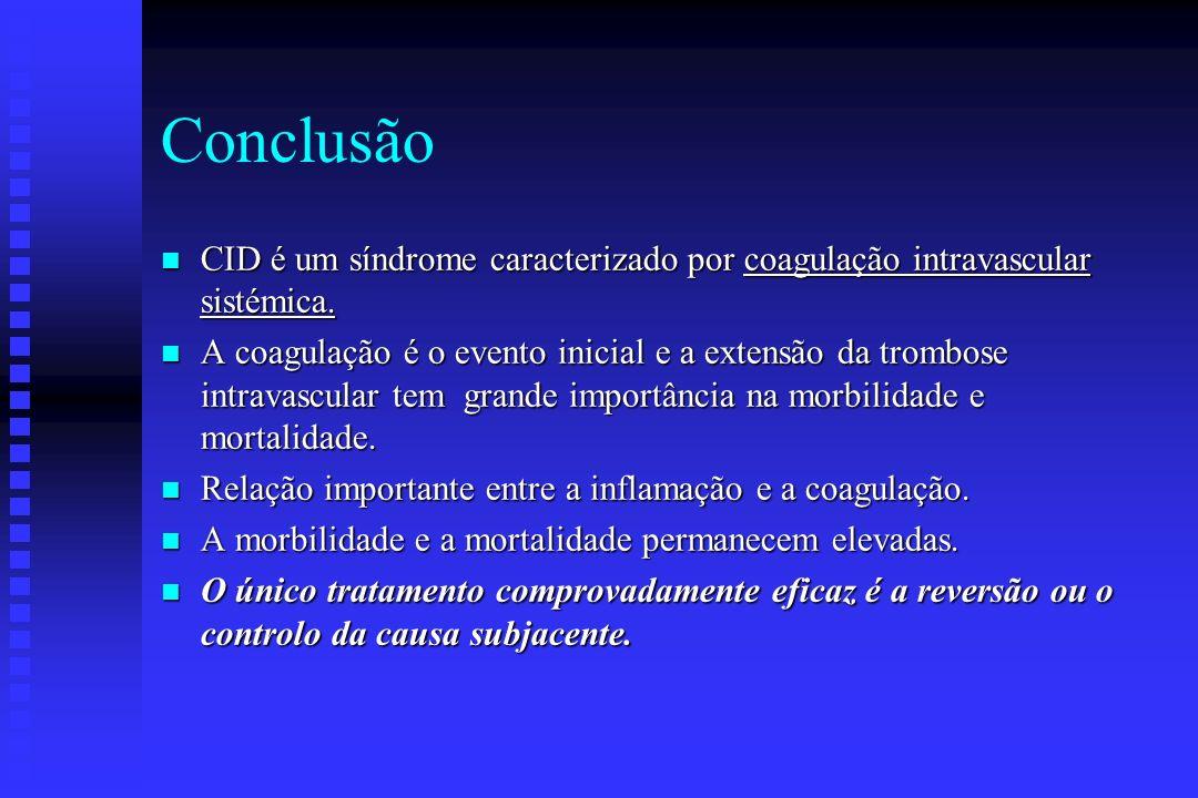 Terapêutica Anti-fibibrinolítica n Raramente indicada na CID u A fibrinólise é necessária para eliminar trombos da micro circulação. u O seu uso pode