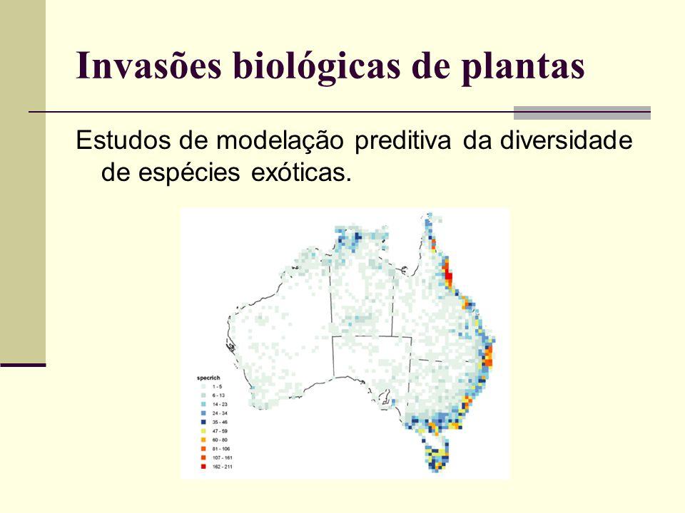 Estudos de modelação preditiva da diversidade de espécies exóticas. Invasões biológicas de plantas