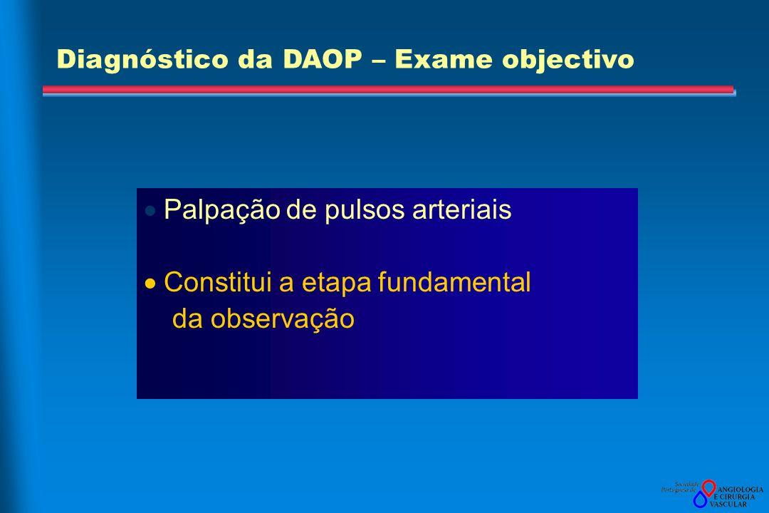 Palpação de pulsos arteriais Constitui a etapa fundamental da observação Diagnóstico da DAOP – Exame objectivo