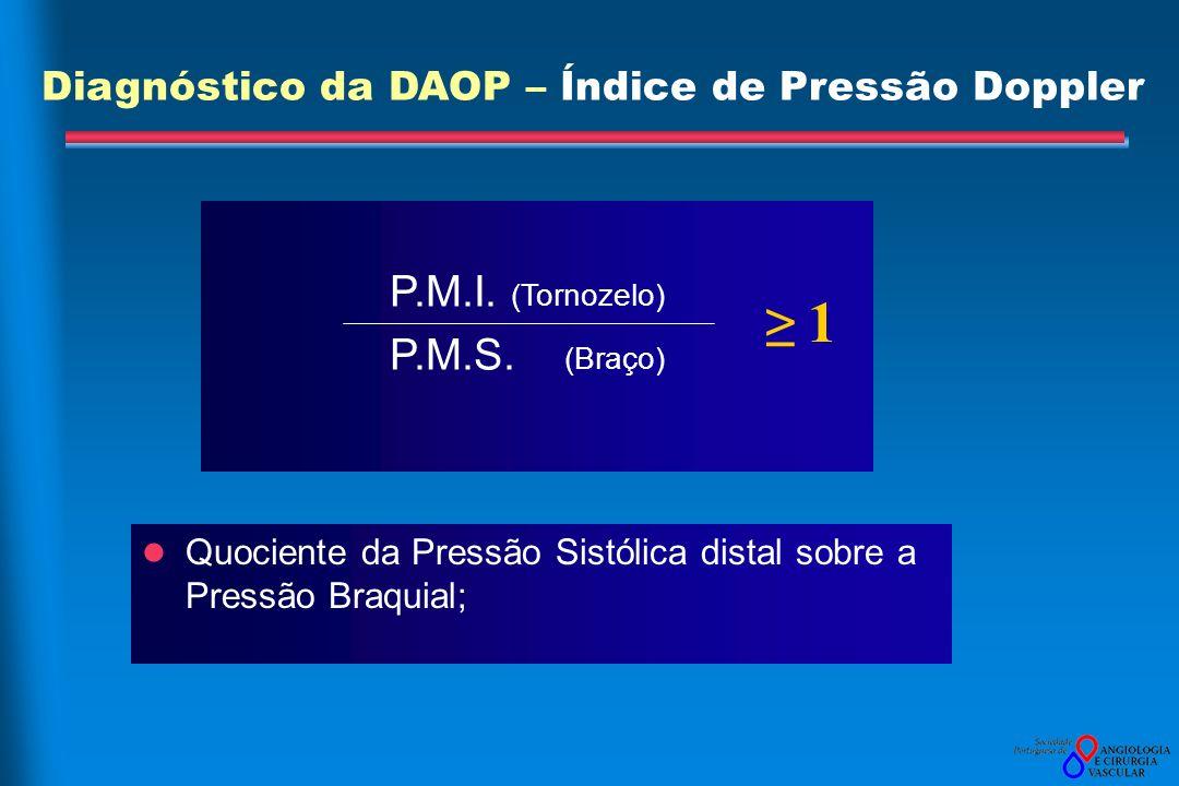 P.M.I. (Tornozelo) P.M.S. (Braço) Quociente da Pressão Sistólica distal sobre a Pressão Braquial; 1 Diagnóstico da DAOP – Índice de Pressão Doppler