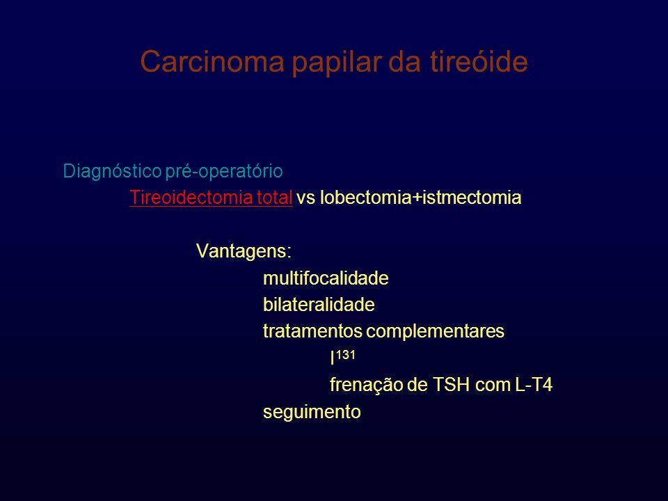 Carcinoma papilar da tireóide Diagnóstico pré-operatório Tireoidectomia total vs lobectomia+istmectomia Vantagens: multifocalidade bilateralidade trat