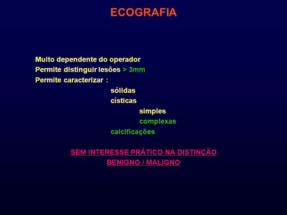ECOGRAFIA Muito dependente do operador Permite distinguir lesões > 3mm Permite caracterizar : sólidas císticas simples complexas calcificações SEM INT