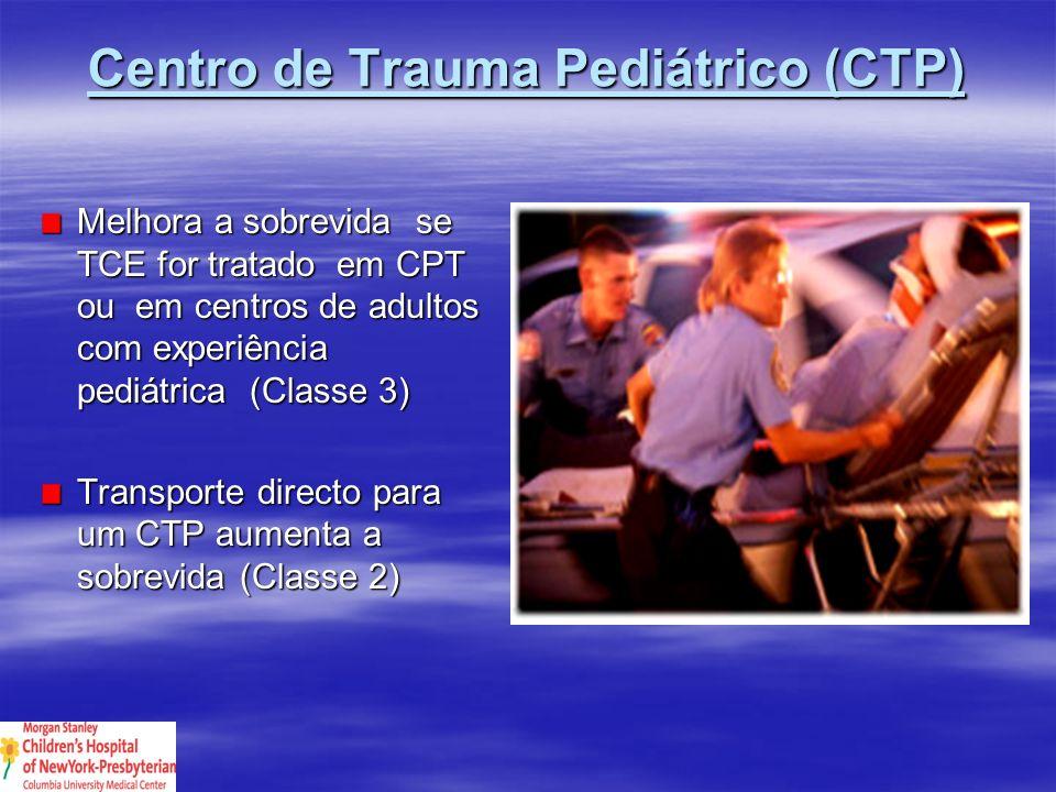 Centro de Trauma Pediátrico Centro de Trauma Pediátrico Padrão: Dados insuficientes Guias de orientação: Transporte directo para CTP, se disponível TCE pediátrico deve ser tratado em CTP ou por equipas de trauma de adultos com experiência pediátrica TCE pediátrico deve ser tratado em CTP ou por equipas de trauma de adultos com experiência pediátrica