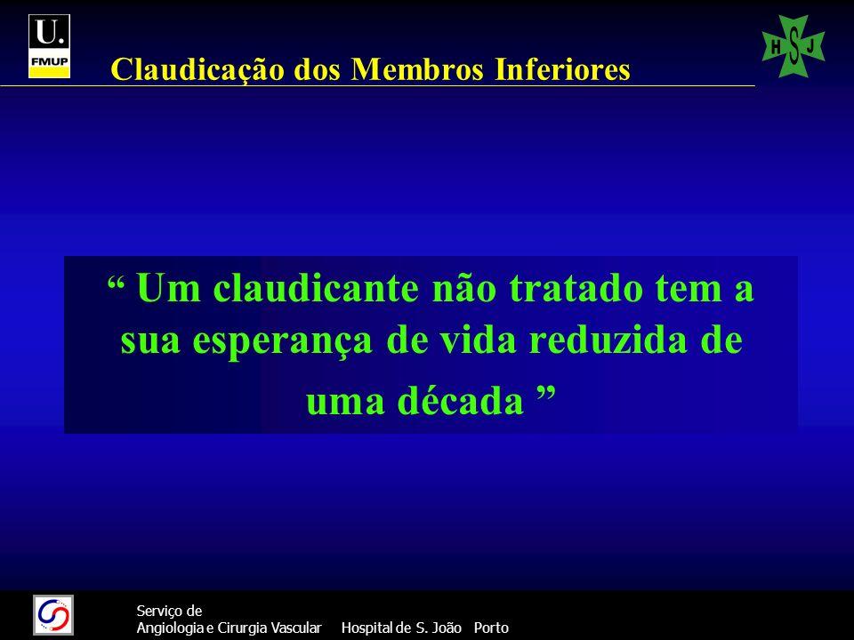 17 Serviço de Angiologia e Cirurgia Vascular Hospital de S. João Porto Claudicação dos Membros Inferiores Um claudicante não tratado tem a sua esperan