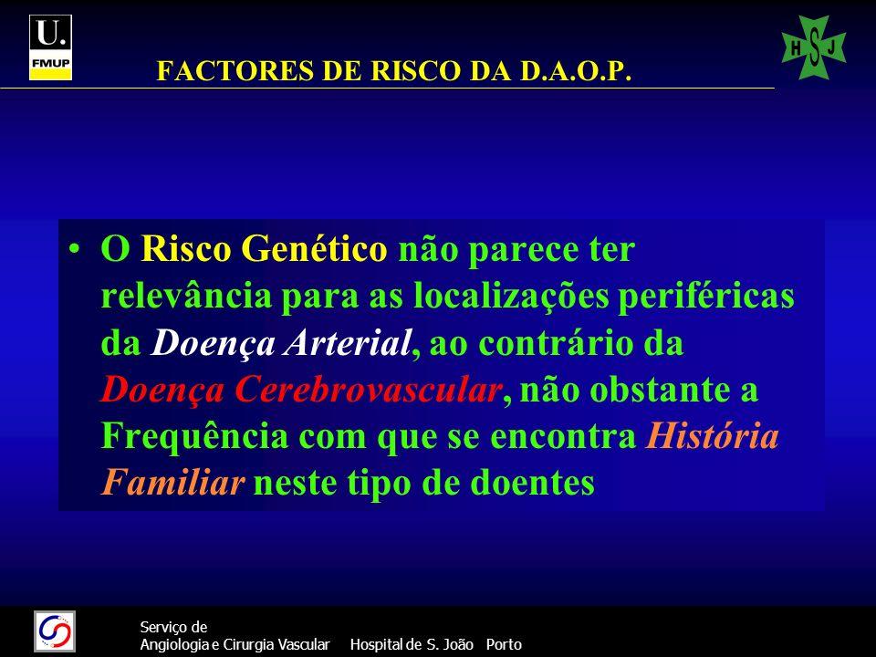 22 Serviço de Angiologia e Cirurgia Vascular Hospital de S. João Porto FACTORES DE RISCO DA D.A.O.P. O Risco Genético não parece ter relevância para a