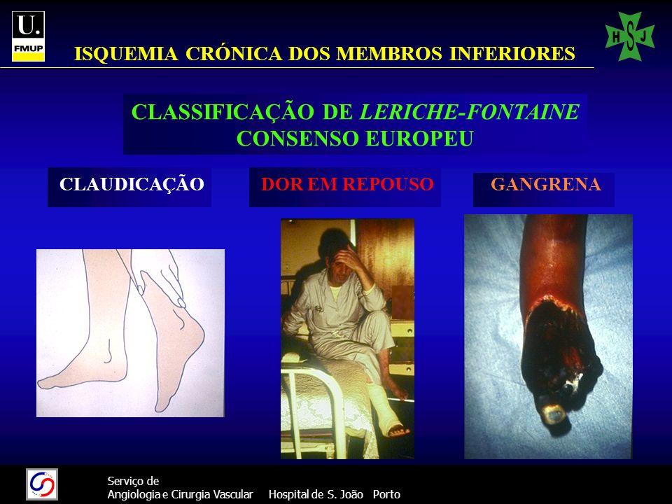 24 Serviço de Angiologia e Cirurgia Vascular Hospital de S. João Porto ISQUEMIA CRÓNICA DOS MEMBROS INFERIORES CLAUDICAÇÃODOR EM REPOUSO GANGRENA CLAS