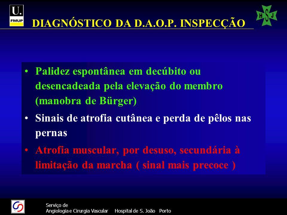26 Serviço de Angiologia e Cirurgia Vascular Hospital de S. João Porto DIAGNÓSTICO DA D.A.O.P. INSPECÇÃO Palidez espontânea em decúbito ou desencadead