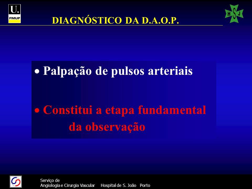 31 Serviço de Angiologia e Cirurgia Vascular Hospital de S. João Porto DIAGNÓSTICO DA D.A.O.P. Palpação de pulsos arteriais Constitui a etapa fundamen