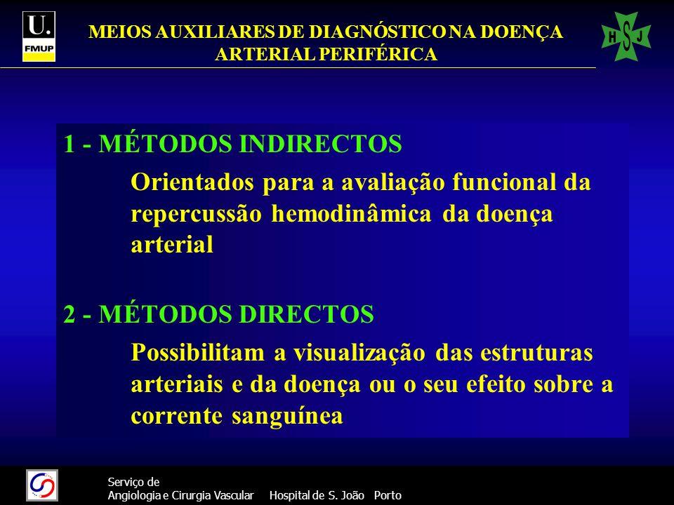 35 Serviço de Angiologia e Cirurgia Vascular Hospital de S. João Porto MEIOS AUXILIARES DE DIAGNÓSTICO NA DOENÇA ARTERIAL PERIFÉRICA 1 - MÉTODOS INDIR