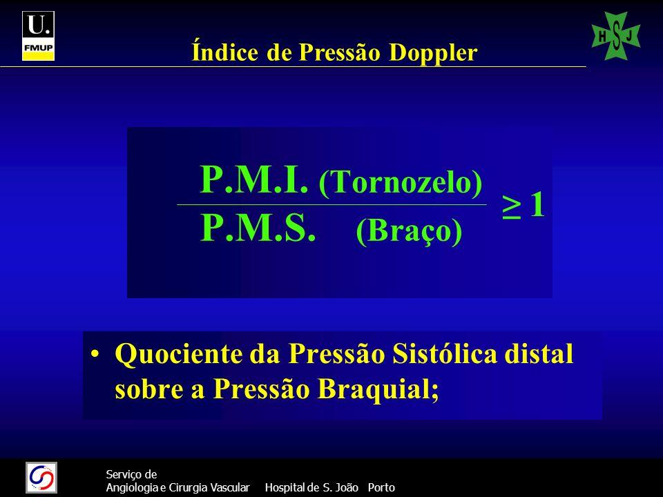 36 Serviço de Angiologia e Cirurgia Vascular Hospital de S. João Porto P.M.I. (Tornozelo) P.M.S. (Braço) Quociente da Pressão Sistólica distal sobre a