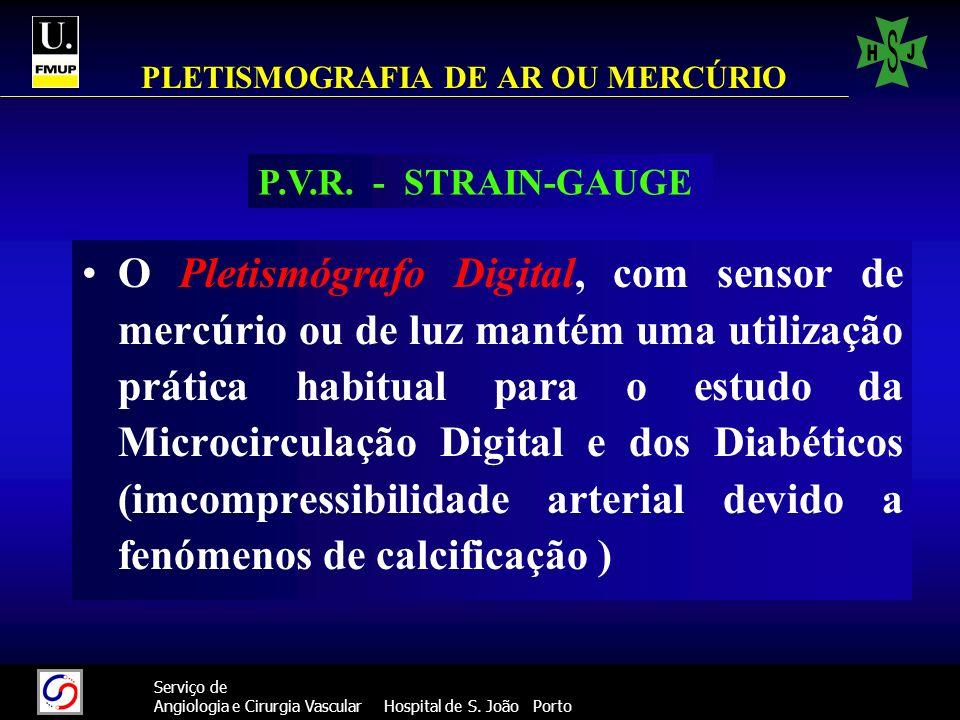 38 Serviço de Angiologia e Cirurgia Vascular Hospital de S. João Porto PLETISMOGRAFIA DE AR OU MERCÚRIO O Pletismógrafo Digital, com sensor de mercúri