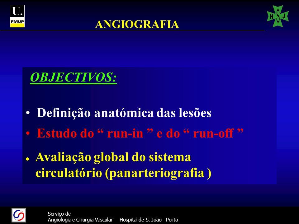 39 Serviço de Angiologia e Cirurgia Vascular Hospital de S. João Porto ANGIOGRAFIA OBJECTIVOS: Definição anatómica das lesões Estudo do run-in e do ru