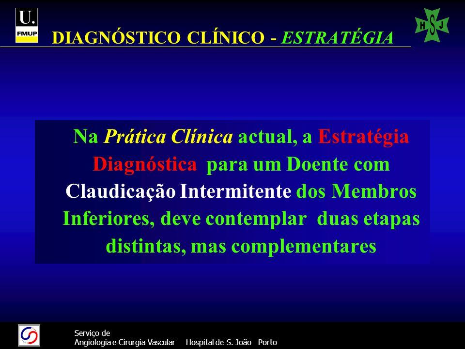 42 Serviço de Angiologia e Cirurgia Vascular Hospital de S. João Porto DIAGNÓSTICO CLÍNICO - ESTRATÉGIA Na Prática Clínica actual, a Estratégia Diagnó