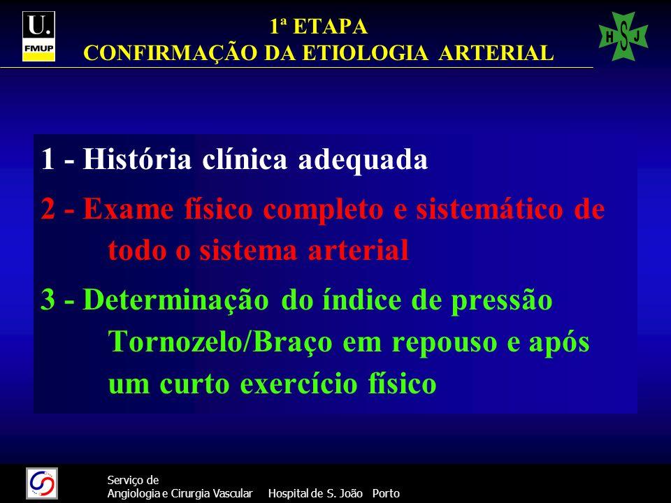 43 Serviço de Angiologia e Cirurgia Vascular Hospital de S. João Porto 1ª ETAPA CONFIRMAÇÃO DA ETIOLOGIA ARTERIAL 1 - História clínica adequada 2 - Ex