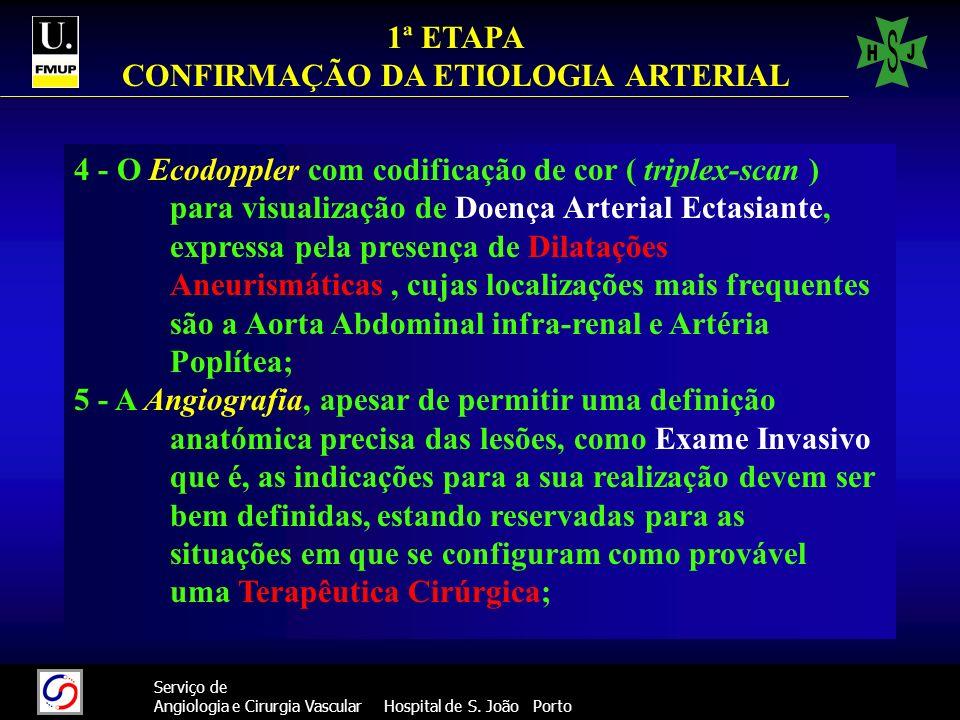 44 Serviço de Angiologia e Cirurgia Vascular Hospital de S. João Porto 4 - O Ecodoppler com codificação de cor ( triplex-scan ) para visualização de D