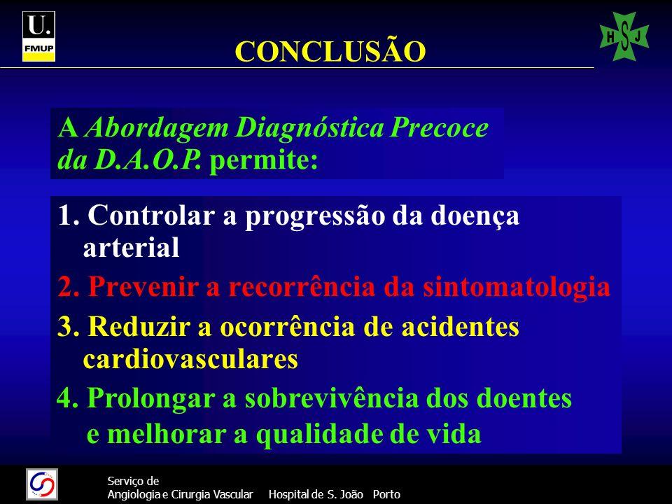 47 Serviço de Angiologia e Cirurgia Vascular Hospital de S. João Porto CONCLUSÃO 1. Controlar a progressão da doença arterial 2. Prevenir a recorrênci