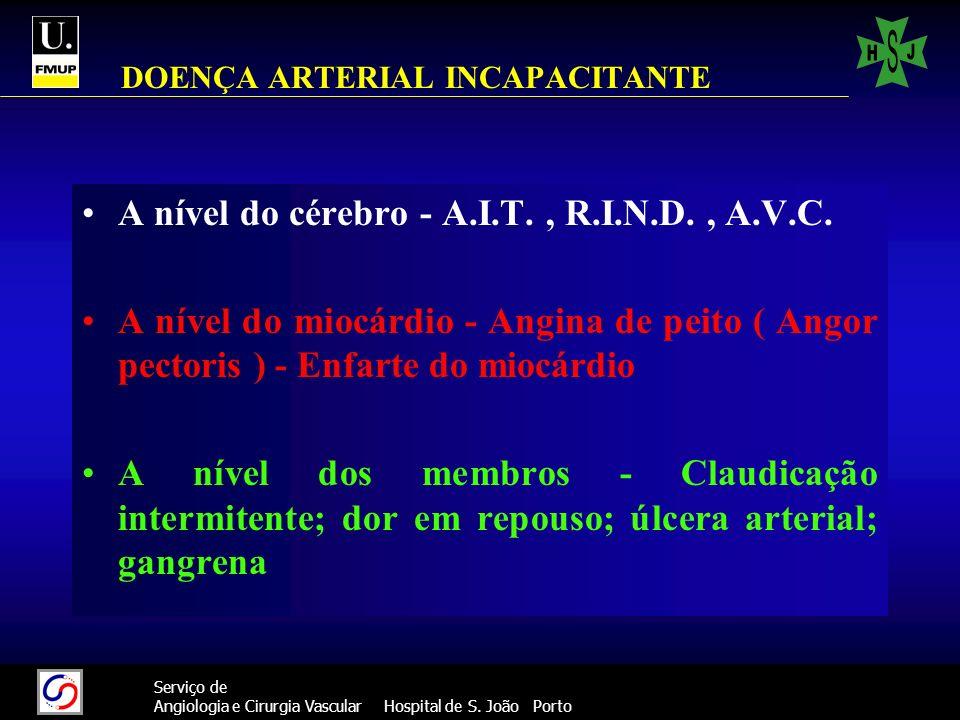 55 Serviço de Angiologia e Cirurgia Vascular Hospital de S. João Porto DOENÇA ARTERIAL INCAPACITANTE A nível do cérebro - A.I.T., R.I.N.D., A.V.C. A n