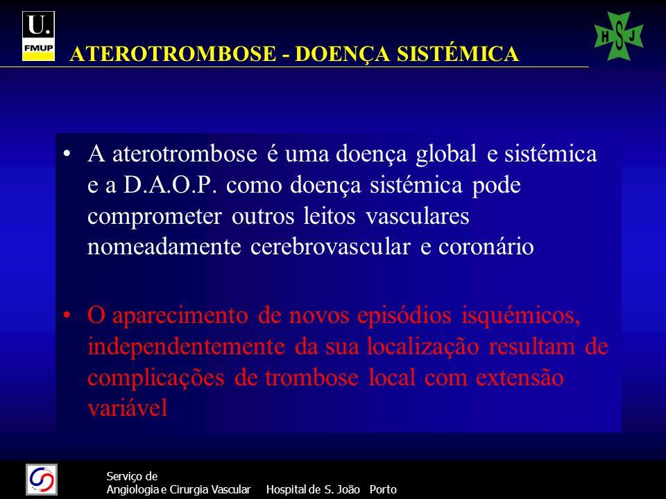 77 Serviço de Angiologia e Cirurgia Vascular Hospital de S. João Porto ATEROTROMBOSE - DOENÇA SISTÉMICA A aterotrombose é uma doença global e sistémic