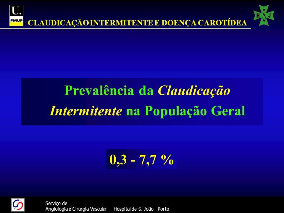 99 Serviço de Angiologia e Cirurgia Vascular Hospital de S. João Porto CLAUDICAÇÃO INTERMITENTE E DOENÇA CAROTÍDEA Prevalência da Claudicação Intermit