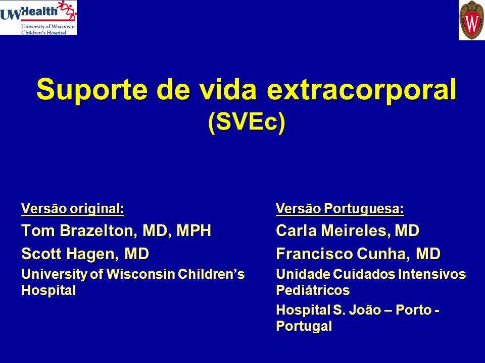 Indicações para SVEc Cardíaco Cardiopatia congénita (CC)Cardiopatia congénita (CC) –Disfunção miocárdica transitória pós-operatória –Insuficiência respiratória em doente com CC tratável –Aumento da resistência vascular pulmonar pós- operatória Miocardite com disfunção grave do miocárdioMiocardite com disfunção grave do miocárdio Arritmias – como ponte até a estabilizaçãoArritmias – como ponte até a estabilização Ponte até ao transplante cardíacoPonte até ao transplante cardíaco Reanimação na paragem cardíacaReanimação na paragem cardíaca