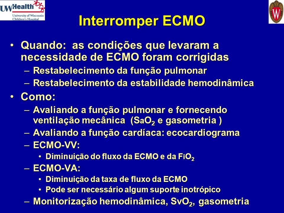 Interromper ECMO Quando: as condições que levaram a necessidade de ECMO foram corrigidasQuando: as condições que levaram a necessidade de ECMO foram c