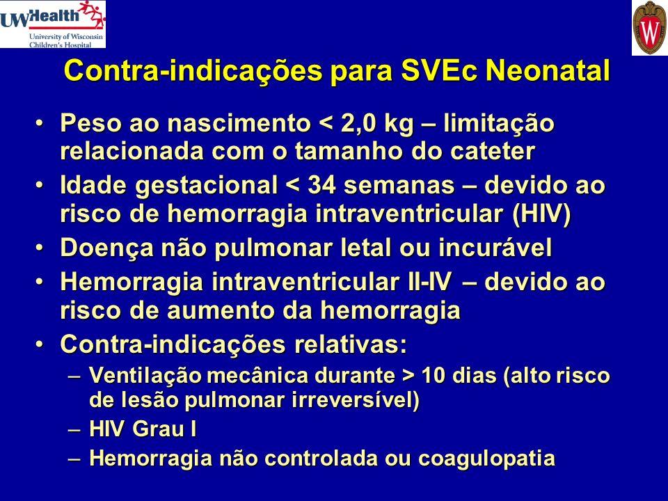 Contra-indicações para SVEc Neonatal Peso ao nascimento < 2,0 kg – limitação relacionada com o tamanho do cateterPeso ao nascimento < 2,0 kg – limitaç