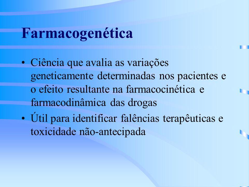 Farmacogenética Ciência que avalia as variações geneticamente determinadas nos pacientes e o efeito resultante na farmacocinética e farmacodinâmica das drogas Útil para identificar falências terapêuticas e toxicidade não-antecipada