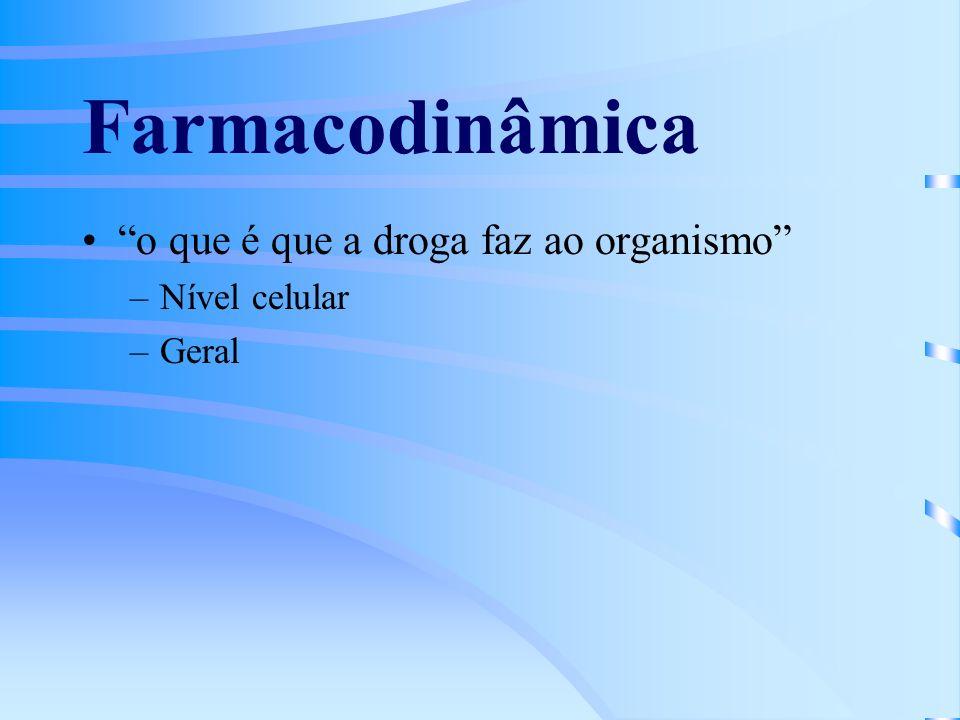 Farmacodinâmica o que é que a droga faz ao organismo –Nível celular –Geral