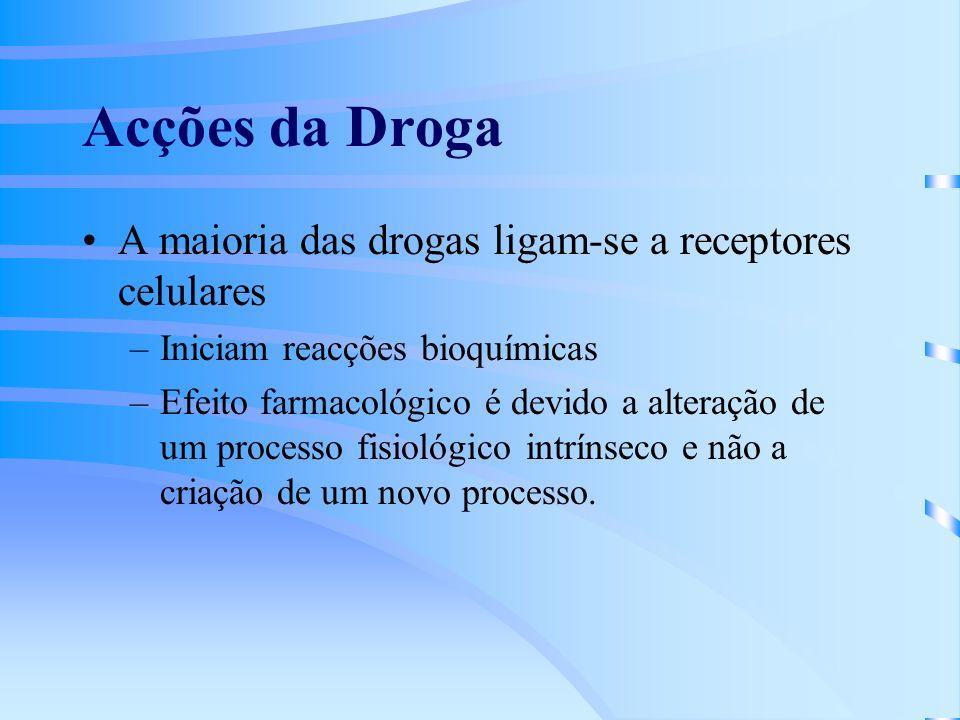 Acções da Droga A maioria das drogas ligam-se a receptores celulares –Iniciam reacções bioquímicas –Efeito farmacológico é devido a alteração de um processo fisiológico intrínseco e não a criação de um novo processo.