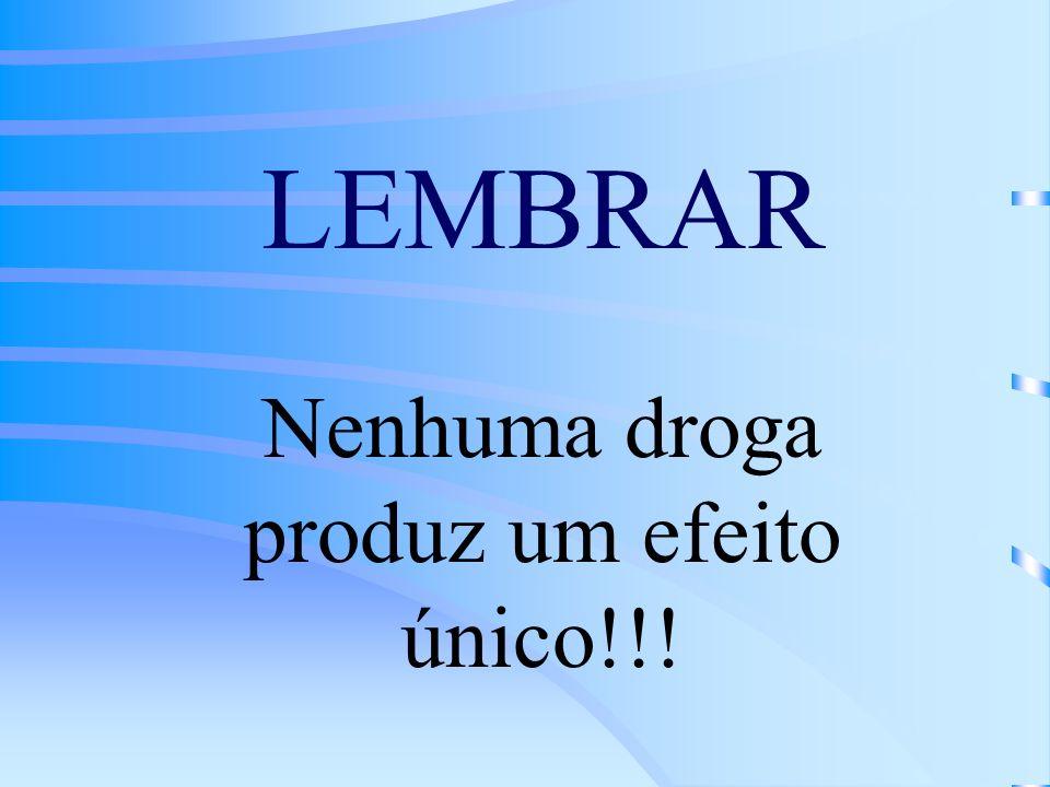 LEMBRAR Nenhuma droga produz um efeito único!!!