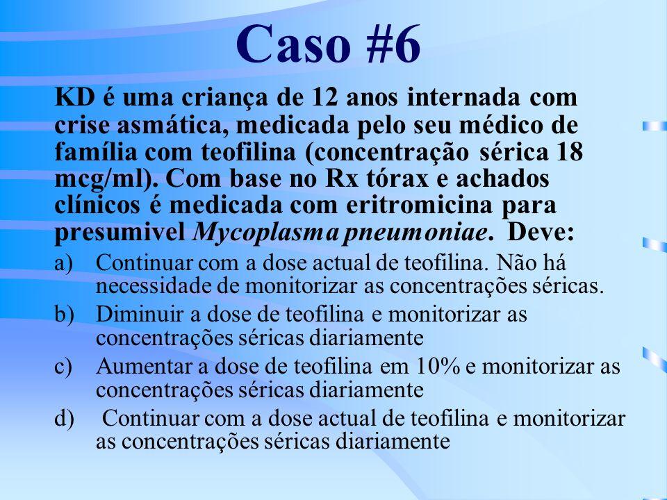 Caso #6 KD é uma criança de 12 anos internada com crise asmática, medicada pelo seu médico de família com teofilina (concentração sérica 18 mcg/ml).