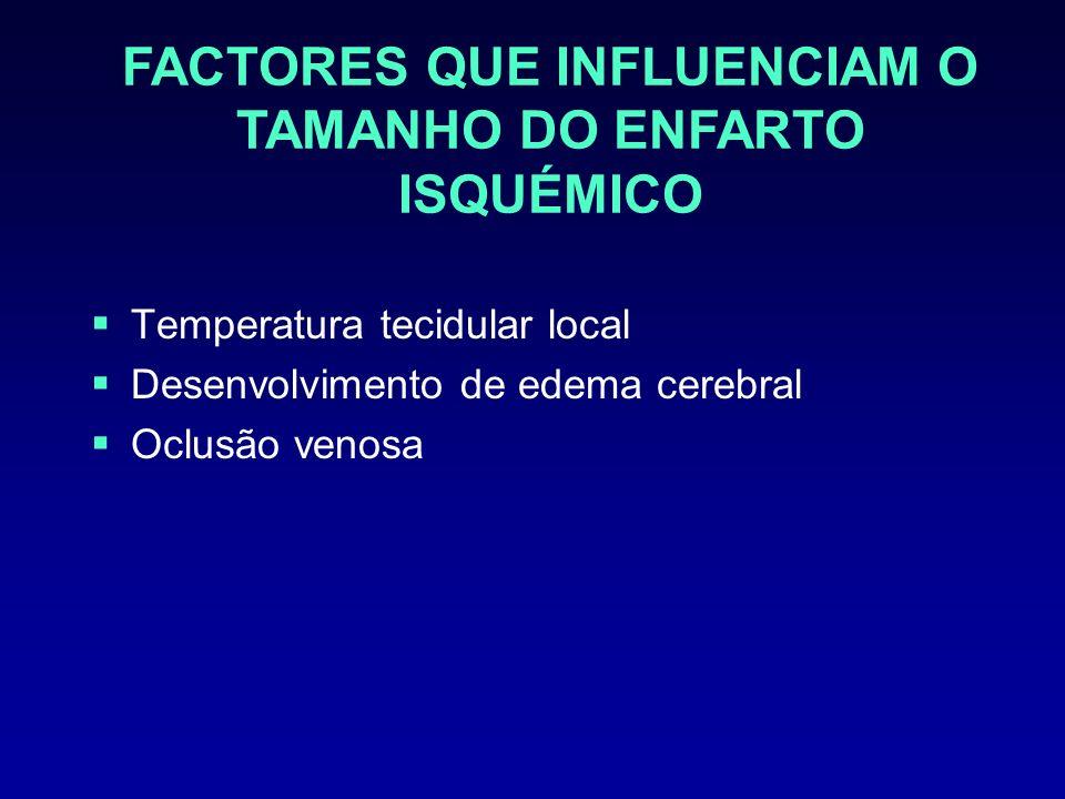 Temperatura tecidular local Desenvolvimento de edema cerebral Oclusão venosa FACTORES QUE INFLUENCIAM O TAMANHO DO ENFARTO ISQUÉMICO
