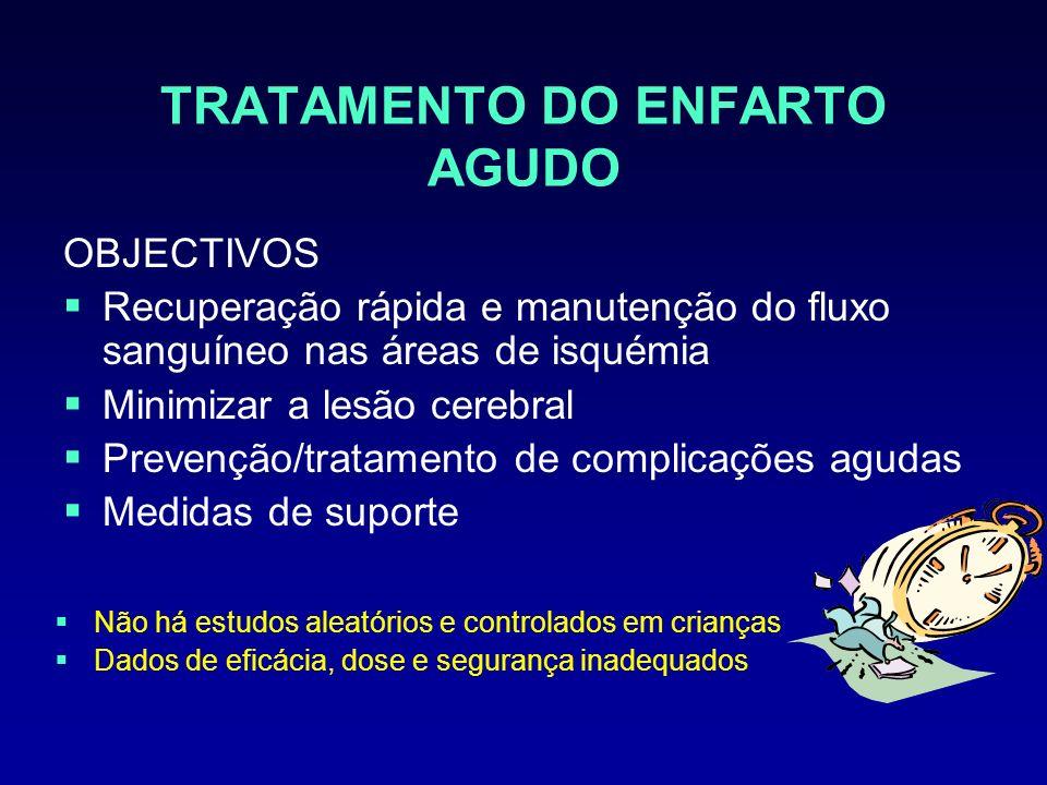 TRATAMENTO DO ENFARTO AGUDO OBJECTIVOS Recuperação rápida e manutenção do fluxo sanguíneo nas áreas de isquémia Minimizar a lesão cerebral Prevenção/t
