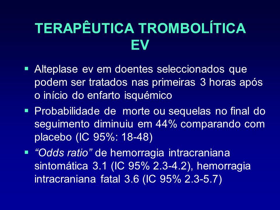 TERAPÊUTICA TROMBOLÍTICA EV Alteplase ev em doentes seleccionados que podem ser tratados nas primeiras 3 horas após o início do enfarto isquémico Prob