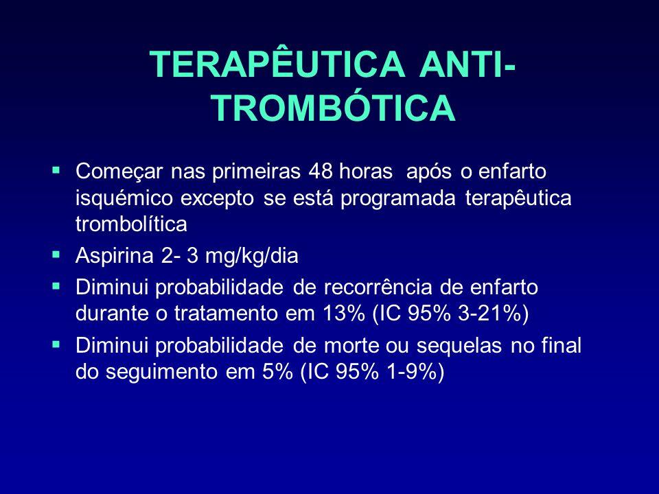 TERAPÊUTICA ANTI- TROMBÓTICA Começar nas primeiras 48 horas após o enfarto isquémico excepto se está programada terapêutica trombolítica Aspirina 2- 3