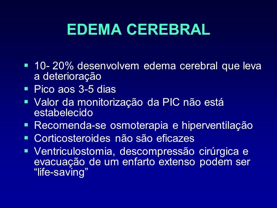 EDEMA CEREBRAL 10- 20% desenvolvem edema cerebral que leva a deterioração Pico aos 3-5 dias Valor da monitorização da PIC não está estabelecido Recome