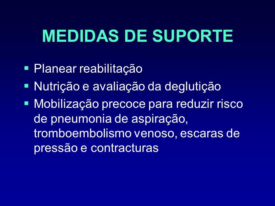 MEDIDAS DE SUPORTE Planear reabilitação Nutrição e avaliação da deglutição Mobilização precoce para reduzir risco de pneumonia de aspiração, tromboemb