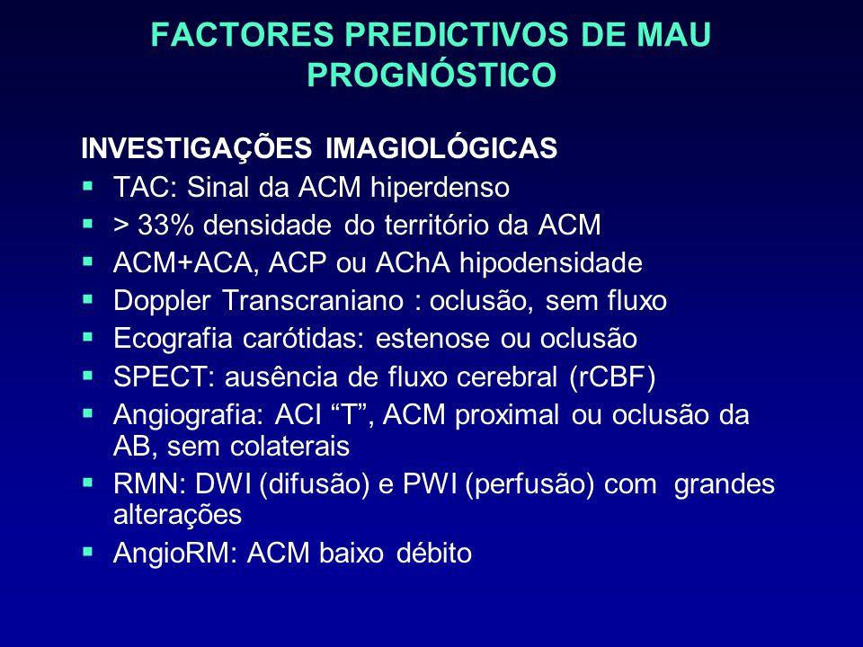 FACTORES PREDICTIVOS DE MAU PROGNÓSTICO INVESTIGAÇÕES IMAGIOLÓGICAS TAC: Sinal da ACM hiperdenso > 33% densidade do território da ACM ACM+ACA, ACP ou