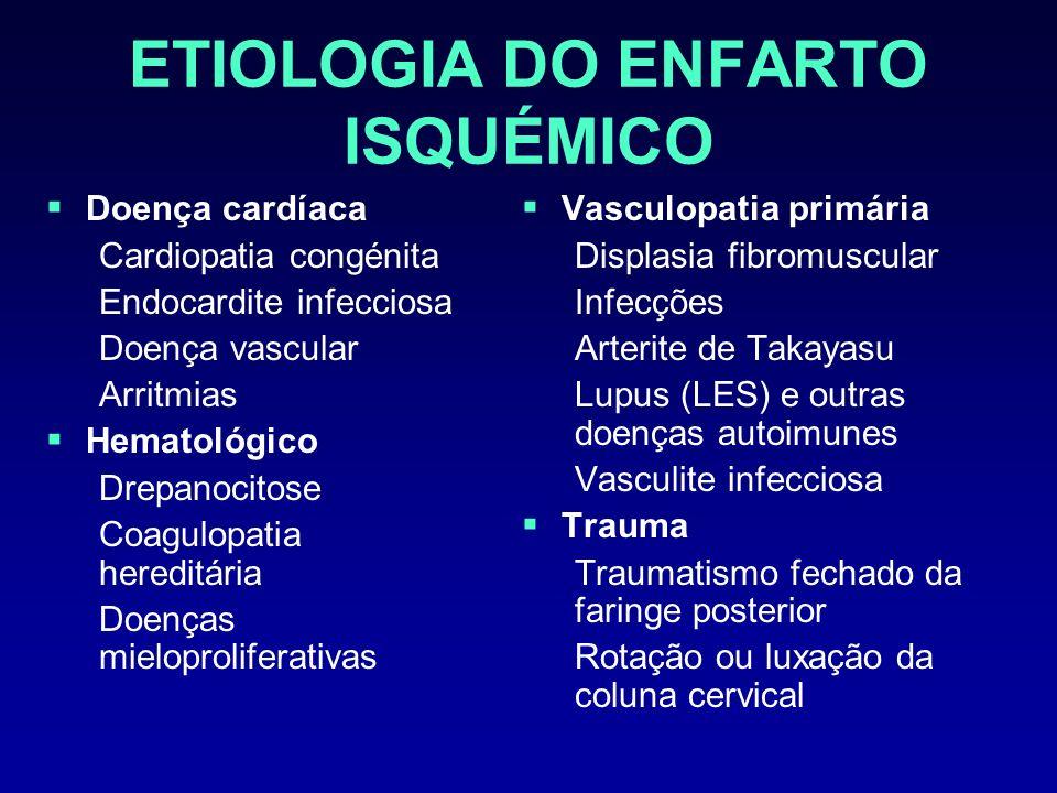 NEUROIMAGIOLOGIA-TAC Efeito de massa precoce pode ser detectado nas primeiras horas Enfartos extensos do território da ACM: apagamento dos sulcos corticais, apagamento do corpo do ventrículo lateral Enfartos cerebelosos: apagamento dos sulcos cerebelosos e cisterna quadrigémia, efeito de massa no IV ventrículo Embolia vascular intracraniana pode ser detectada na TAC sem contraste como estrutura hiperdensa duma artéria major por ex.